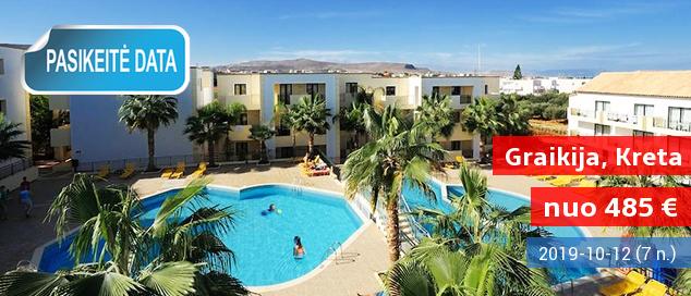 """Praleiskite atostogas su šeima saulėtoje KRETOJE! Savaitės poilsis labai gerai turistų vertinamame 4* viešbutyje su  """"viskas įskaičiuota"""" - tik nuo 435 EUR! Kelionės data: 2017 m. birželio 1 d."""