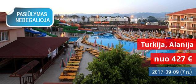 """Praleiskite atostogas prie jūros ir su vandens kalneliais Alanijos regione TURKIJOJE! Savaitės poilsis jaukiame 5* viešbutyje su """"viskas įskaičiuota"""" - tik nuo 427 EUR! Kelionės data: 2017 m. rugsėjo 9 d."""