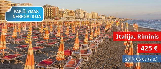 Vasaros atostogos Riminio pajūryje, ITALIJOJE! Savaitė gerame 3* viešbutyje ant jūros kranto su pusryčiais ir vakarienėmis – tik nuo 444 EUR! Kelionės data: 2017 m. birželio 7 d.