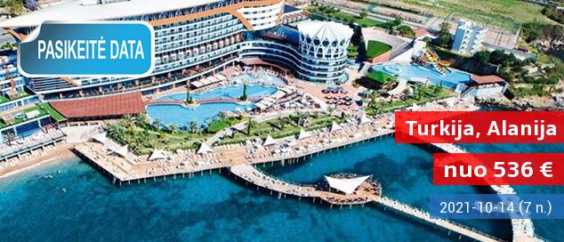 """Nuostabios atostogos mėgaujantis prabanga ant jūros kranto TURKIJOJE! 8 naktys puikiame 5* viešbutyje su """"viskas įskaičiuota+"""" - tik nuo 593 EUR! Kelionės data: 2017 m. liepos 30 d."""