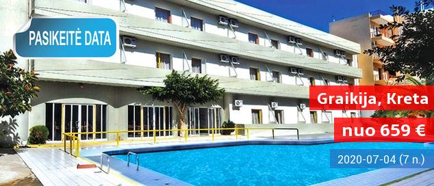 Pažinkite salos kultūrą ir pailsėkite KRETOS kurorte! Savaitės atostogos kokybiškame 3* viešbutyje su pusryčiais ir vakarienėmis - tik nuo 379 EUR! Kelionės data: 2017 m. birželio 15 d.