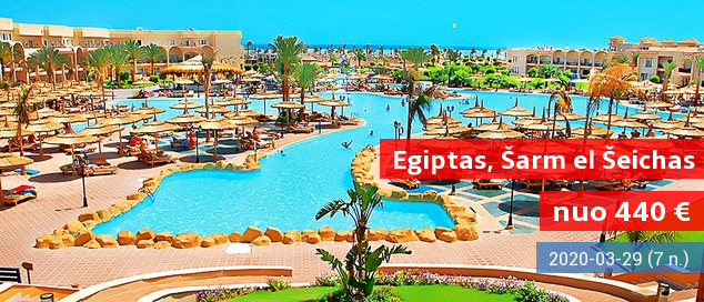 """Mėgaukitės komfortu EGIPTO Šarm el Šeicho kurorte! Savaitė 5* viešbutyje su vandens kalneliais ir maitinimo tipu """"24 h viskas įskaičiuota"""" - vos nuo 486 EUR! Data: 2017 m. gruodžio 20 d."""