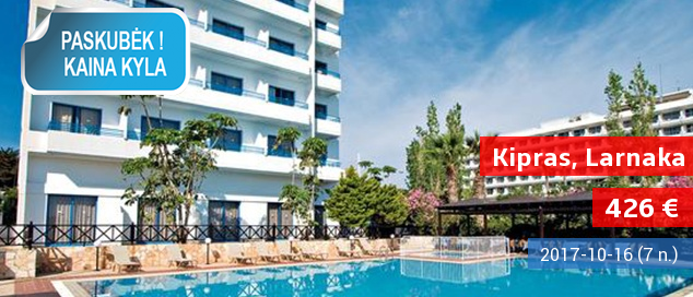 Praleiskite puikias atostogas Larnakos regione KIPRE! Savaitė labai gerai vertinamame 4* viešbutyje su pusryčiais ir vakarienėmis - tik nuo 426 EUR! Kelionės data: 2017 m. spalio 20 d.