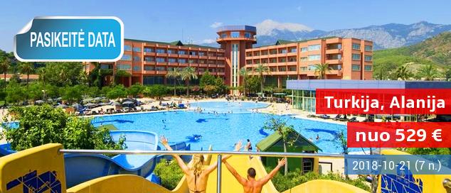 """Kaitrios atostogos su šeima TURKIJOJE šalia paplūdimio! 6 naktys daug pramogų siūlančiame 5* viešbutyje su """"ultra viskas įskaičiuota"""" - tik nuo 392 EUR! Kelionės data: 2017 m. rugsėjo 3 d."""
