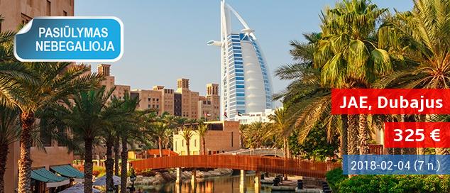 Pasilepinkite ir skirkite sau kelionę į prabanga tviskantį Dubajų! Savaitė poilsio 3* viešbutyje su pusryčiais tik nuo 460 EUR! Išvykimo data: 2018 m. sausio 3 d.