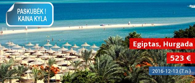 """Saulė bei pramogos Egipte, prie Raudonosios jūros! Savaitės atostogos 4* viešbutyje ant jūros kranto su maitinimo tipu """"viskas įskaičiuota"""" tik 530 EUR! Išvykimas: gruodžio 13 d."""
