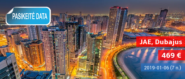 Padovanokite sau kelionę į prabanga tviskantį Dubajų! Savaitė poilsio 3* viešbutyje su pusryčiais ir vakarienėmis tik 589 EUR! Išvykimo data: 2017-02-09