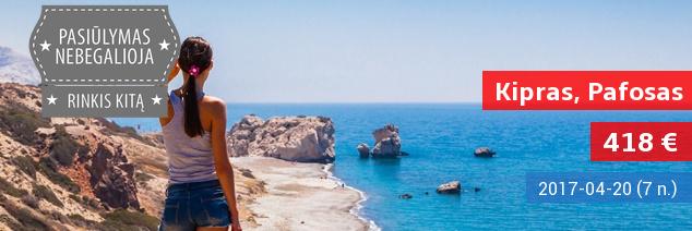 Išskirtinis pasiūlymas: saulėta balandžio pabaiga Kipre, Pafose! Savaitės atostogos 4* viešbutyje su pusryčiais ir vakarienėmis tik 418 EUR. Kelionės data: balandžio 20 d.