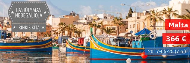 Pavasario atostogos Maltoje! Savaitės poilsis 4* viešbutyje su pusryčiais ir vakarienėmis tik 366 EUR! Išvykstame 2017.05.25