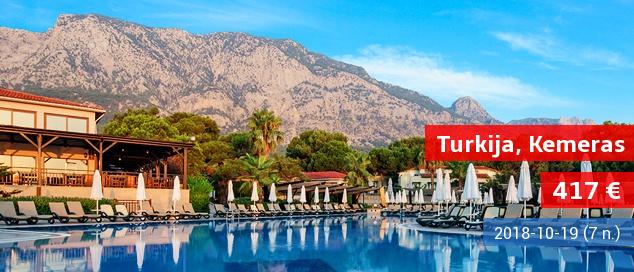 """PUIKUS PASIŪLYMAS ŠEIMOMS: gegužio atostogos gamtos apsuptyje Turkijoje. Savaitė 5* viešbutyje su """"ultra viskas įskaičiuota"""" tik nuo 463 EUR! Kelionės data: 2017 m. gegužės 5 d."""