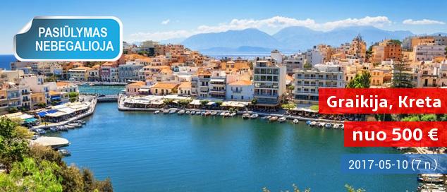 Vasaros pradžia žavingoje Kretos saloje! Praleiskite nepamirštamą savaitę 4* viešbutyje ant jūros kranto su pusryčiais ir vakarienėmis tik nuo 481 EUR. Išvykimo data: 2017 m. gegužės 31 d.