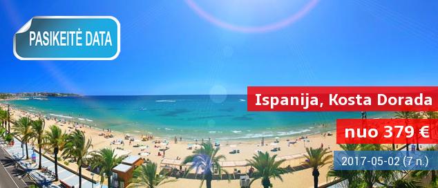 Saulė, ilgos maudynės ir ispaniška siesta! Savaitė Ispanijoje, Kosta Dorados pakrantėje esančiame 4* viešbutyje su pusryčiais ir vakarienėmis, tik nuo 349 EUR. Kelionės data: 2017 m. gegužės 27 d.