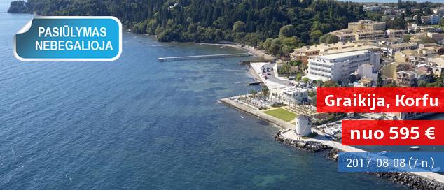 Romantiškos atostogos kontrastingoje Korfu saloje GRAIKIJOJE! Savaitės poilsis puikiame  4* viešbutyje su pusryčiais –  595 Eur! Kelionės data: 2017 m. rugpjūčio 8 d.