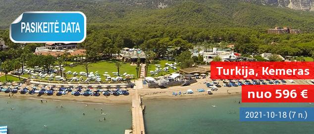 """Planuokite rudens poilsį iš anksto! Savaitės atostogos Kemero kurorte TURKIJOJE, 5* viešbutyje ant jūros kranto su  """"viskas įskaičiuota"""" - vos nuo 392 EUR! Kelionės data: 2017 m. spalio 19 d."""